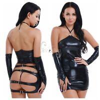Sexy Women's PVC Leather Mini Dress Bodycon Caged Dress+G-String+Gloves Clubwear