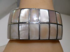 Ambrose Roanhorse 1/ Navajo Cuff Bracelet Sterling Silver Mother Of Pearl Inlaid