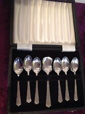 Vintage Set of 7 Art Deco  Silver Plated Coffee dessert Spoons Cased