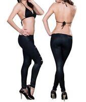 Punk Gothic Damen Leggings Risse Stretch Leggings Hose Jeggings Schwarz S/M