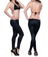 Punk Gothic Damen Leggings Risse Stretch Leggings Hose Jeggings Schwarz Größe