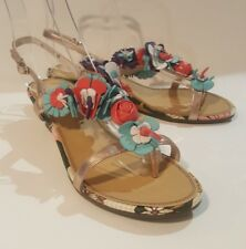 Staccato Ladies Gold Leather Floral Toe Post Wedge Sandals Shoes Size UK 6 EU 39