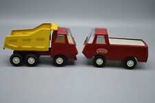 "2 Vintage Tonka Pressed Steel Trucks, Dump Truck & Van. 1970's 5"" Long -Preowned"