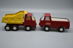 """2 Vintage Tonka Pressed Steel Trucks, Dump Truck & Van. 1970's 5"""" Long -Preowned"""