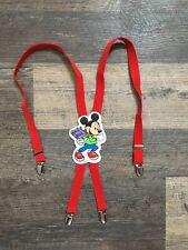 Vintage Mickey Mouse Kids Childrens Boys Suspenders Red Disney