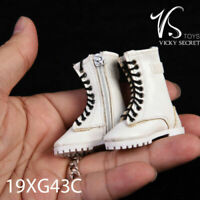 Fire Girl Toys 1/6 Female White Hollow Zipper Boots 19XG43C Fit 12'' Figure Doll