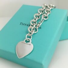 "7.75""  Tiffany & Co Silver Blank Heart Tag Charm Bracelet with Tiffany Box"