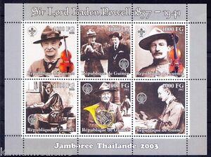 Guinea MNH 6v SS, Scout, Baden Powell, Music, Olave, Violin
