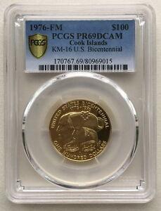 Cook 1976 U.S. Bicentennial 100 Dollars PCGS PR69 Gold Coin,Proof