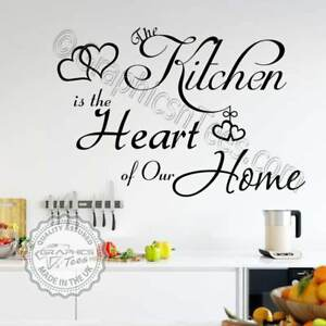 Kitchen Wall Sticker Heart of Our Home Family Wall Quote Vinyl Decor Decals