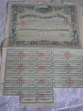 Vintage share certificate Stocks Bonds Action compagnie generale des tabacs 1923