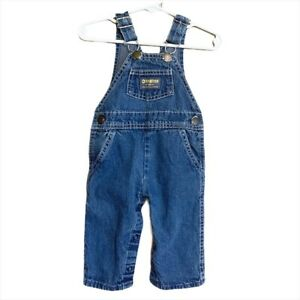 Oshkosh B'Gosh Infant's Blue Denim Vestbak Bib Overalls Size 3-6 Months