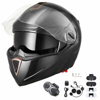AHR DOT Full Face Flip Up Modular Motorcycle Helmet 2 Visor Bluetooth Headset L