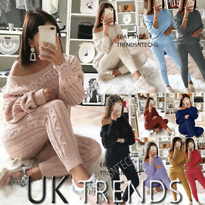 Ladies Knitted Lounge Wear 2 PCS Tracksuits Set Ladies Cable Knit Womens Pyjamas