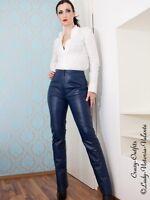 Lederhose Leder Hose Knalleng Blau Maßanfertigung