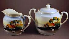 Vintage China Cream and Sugar Set Made in Japan Hand Painted Swan & Farm Motif