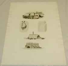 """1831 Greek Architecture Print/PORT OF MODON, GREECE w/BREAKWATER DETAILS/15x20"""""""