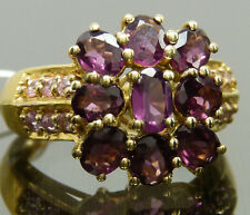 Genuine Rhodolite Garnet Pink Zirconia Statement Cocktail Ring 18k YG IP