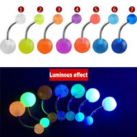 7Pcs/Pack Luminous Glow Dark Belly Button Navel Bar Rings Body Piercing Jewelry
