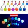 7Pcs/Pack Luminous Glow Dark Belly Button Navel Bar Rings Body Piercing Jewelry