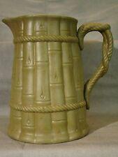 Staffordshire Stoneware Ridgway Green Drabware Bamboo & Rope Pitcher 1835