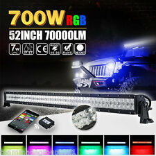 "52""inch 700W CREE RGB LED Light Bar Strobe Flash Multi Color Halo Ring Bar Disco"