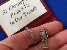 Rare St. Christopher Icon and Rosary Ring Pocket Folder Statue Saint Safe Travel