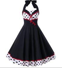 Rockabilly Kleid Pin Up Polka Dots Petticoat  Dress Vintage Neckholder