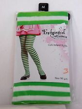 Size M/4-6 Green White Striped Girls Tights Enchanted Costumes Halloween Party