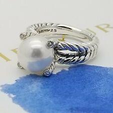 David Yurman Signature Sterling Silver 10mm Pearl & Diamonds Ring Size 8
