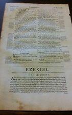 1640 Geneva Folio Bible Leaf Title Ezekiel Woodcut Initial Antique Rare gift