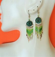 - hand painted - Rounded designs 70 pairs Ceramic earrings - beads tubes
