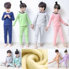 Kids Girls Boys Thermal Underwear sets Children Warm Fleece Pajamas Long sleeve