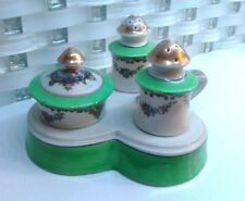 Vintage Japan Hand Painted NORITAKE CONDIMENT SET Salt Pepper ON Handle TRAY