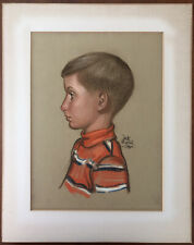 RARE Vintage 1968 Pencil Chalk Sketch SIGNED Art Drawing Boy by DICK BRIEFER