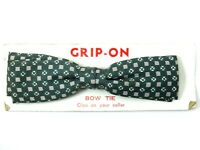 Royal Vintage Clip On Bow Tie 1950s Green Polka Dot Thin Straight Bowtie