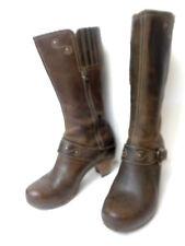 DANSKO EUR 39 US 8.5M 9M Mid Calf Brown Leather Wood Clog Side Zipper Boot