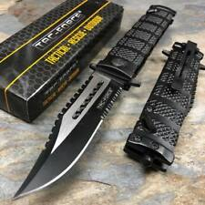 TAC FORCE Black Spring Assisted Open Sawback Bowie Tactical Pocket Knife!