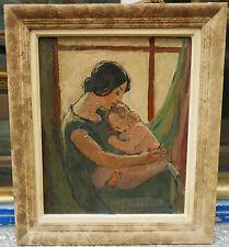 Tableau Huile Portrait Mère et Enfant Nativité JULIA THEOPHYLACTOS Peintre GREC
