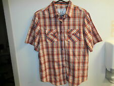 Girl Crazy Womens Plaid Checked Short Sleeve Button Front Top Blouse L NWT