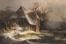 Anton Doll (1826-1887) - Paesaggio invernale con persone staffage