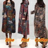 Mode Femme Floral Confor Coton en Lin Manche Longue Col Rond Robe Dresse Plus