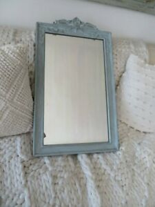 FABULOUS Old Vintage Wood WALL MIRROR Ornate Gesso Header Swags of Flowers BLUE