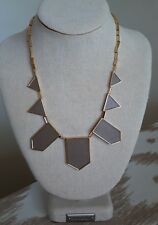 House of Harlow necklace HOH 1960 Classic Station Geo Deco Pyramid Gold Taupe