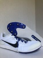 Nike Zoom Rival Men's Racing Distance Spikes Sz12 806556-100 White Blue Spike XC