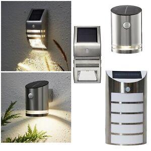 LED Solar Wand-Leuchte mit Bewegungsmelder Edelstahl Außen-Lampe Wand-Strahler