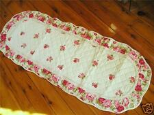 Shabby Rose Quilted Cotton Mat/Floor Runner Oval L