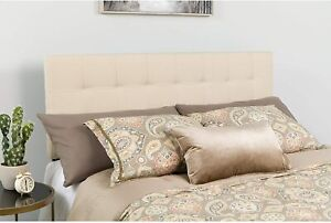 Bedford Tufted Upholstered Queen Size Headboard in Beige Fabric New