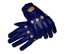 Blue Genuine Leather Driving Gloves