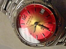 """Fossil ladies dress watch date Stainless 7"""" CLASSY min wear new bat Red face"""